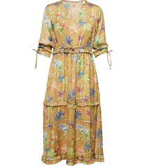 midi length dress with v-neck and ruffles jurk knielengte geel scotch & soda