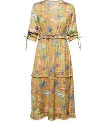75c96349ef3 midi length dress with v-neck and ruffles jurk knielengte geel scotch & soda