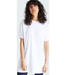 lång t-shirt i bomull med rund hals - vit
