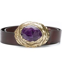 dsquared2 calf leather belt with amethyst buckle detail - brown