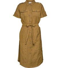 t6272, woven dress s/s knälång klänning gul saint tropez