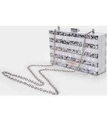 anne striped hardcase clutch - silver