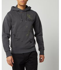 helmut lang men's standard painter hoodie - pewter - l