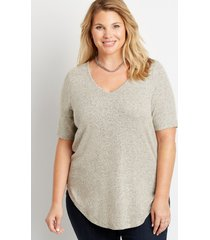 maurices plus size womens 24/7 flawless solid brushed tunic tee beige