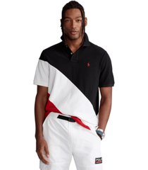 polo ralph lauren men's big & tall banner-stripe mesh polo shirt
