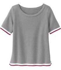 sportief gebreid shirt van biologisch katoen, grijs 40/42