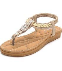 sandali piatti strass in metallo intrecciato
