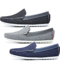 3 pares mocassim 588 casual jeans schiareli k1 preto/cinza/azul