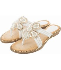 sandalias de cuentas de pétalos de diamantes de moda-blanco