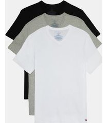 tommy hilfiger men's cotton classics v-neck undershirt 3pk black/grey heather/white - l