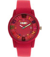 crayo unisex festival fuchsia silicone strap watch 41mm