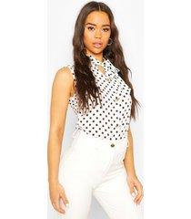 mouwloze blouse met stippen en strik, wit