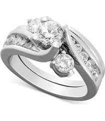 certified diamond engagement ring bridal set in 14k white gold (1-1/2 ct. t.w.)