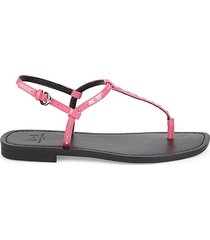 studded patent leather thong sandals