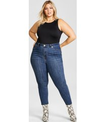 nina parker trendy plus size high-neck tank bodysuit, created for macy's