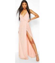 plunge wrap sequin maxi dress, apricot