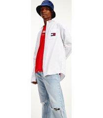 tommy hilfiger men's badge lightweight twill shirt white - l