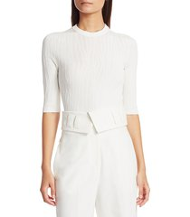 proenza schouler women's crinkle texture knit top - butter - size s