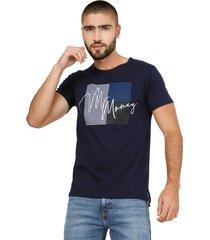 camiseta azul navy manpotsherd money