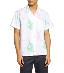 men's obey angelito short sleeve organic cotton button-up camp shirt, size small - white