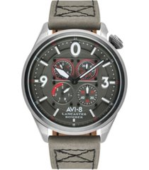 avi-8 men's lancaster bomber chronograph sugar blue's edition gray genuine leather strap watch 44mm