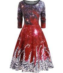 galaxy printed christmas long sleeve plus size dress