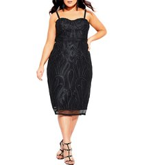 plus size women's city chic antonia strapless sheath dress, size large - black