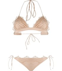 oséree lace embroidered bikini set - neutrals