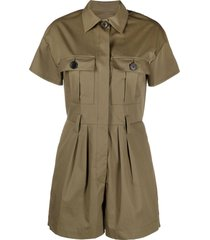 ba & sh coline belted cotton playsuit - green