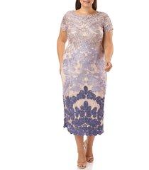 plus size women's js collections soutache midi dress, size 22w - purple