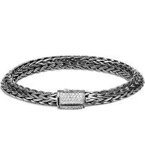 'classic chain tiga' diamond silver rhodium large bracelet