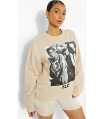 oversized gelicenseerde tlc sweater, stone