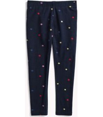 tommy hilfiger girl's adaptive micro star legging evening blue/ multi - l