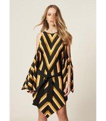 vestido mob kaftan tricot assimétrico amarração multicolor feminino - feminino