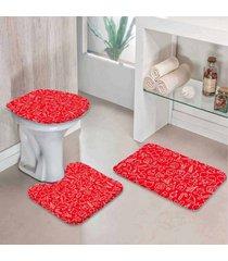 jogo tapetes para banheiro icones natal vermelho único