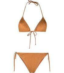 reina olga suede-effect bikini - brown