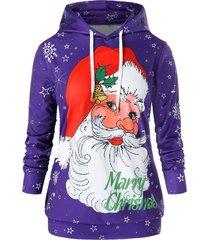 plus size christmas santa claus snowflake pullover hoodie