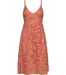 blossom lace dress knälång klänning orange gina tricot