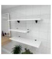 kit 3 prateleiras banheiro em mdf suporte tucano branco 1 60x30cm 2 90x30cm modelo pratbnb13