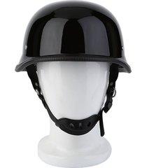 er vintage motorcycle cruiser casco alemán de media cara -negro