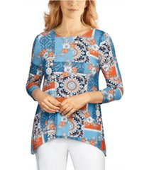 ruby rd. women's misses medallion patchwork printed handkerchief top
