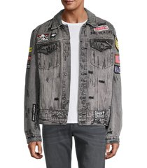 cult of individuality men's graffiti patch denim jacket - black acid - size xxl