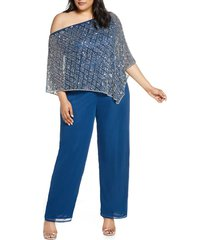 plus size women's pisarro nights off the shoulder beaded cape jumpsuit