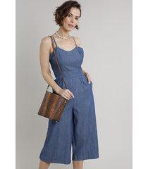 macacão em jeans feminino pantacourt com bolso alça fina azul escuro
