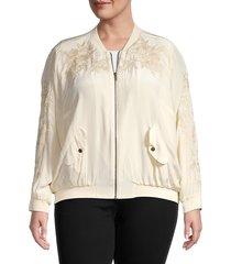 johnny was women's plus tyrell silk bomber jacket - ecru - size 2x (18-20)