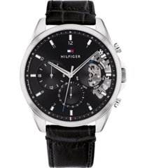 tommy hilfiger men's chronograph black leather strap watch 44mm