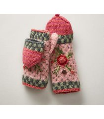 sundance catalog women's frosty blooms convertible mittens in red earth