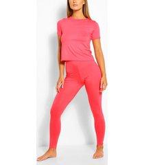 basic t-shirt & legging soft jersey pj set, coral