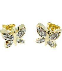 brinco kumbayá borboleta banho de ouro 18k cravejado de zirconia incolores detalhe em rodio feminino