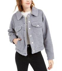 oat faux sherpa trucker jacket